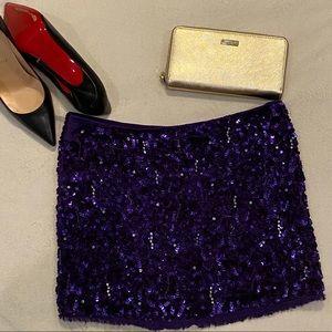 Alice + Olivia Purple Sequin Mini Skirt